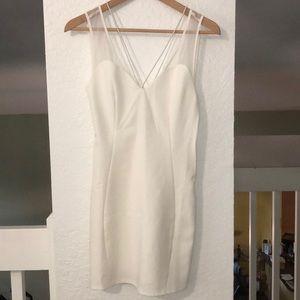 ❕Tobi White Satin w/mesh Mini Dress